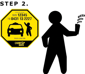 Step2: You will receive a confirmation S M S from 1 3 CABS with your booking number.